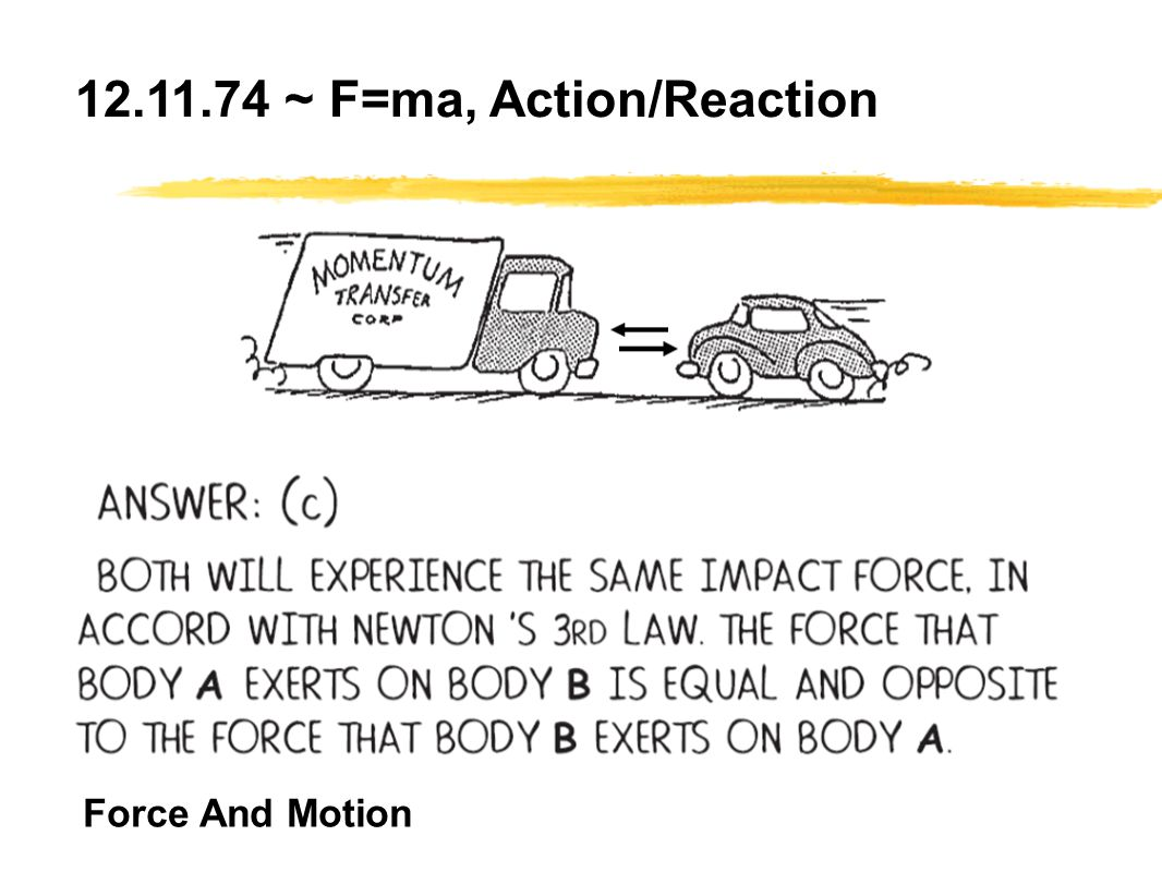 Force And Motion 12.11.74 ~ F=ma, Action/Reaction