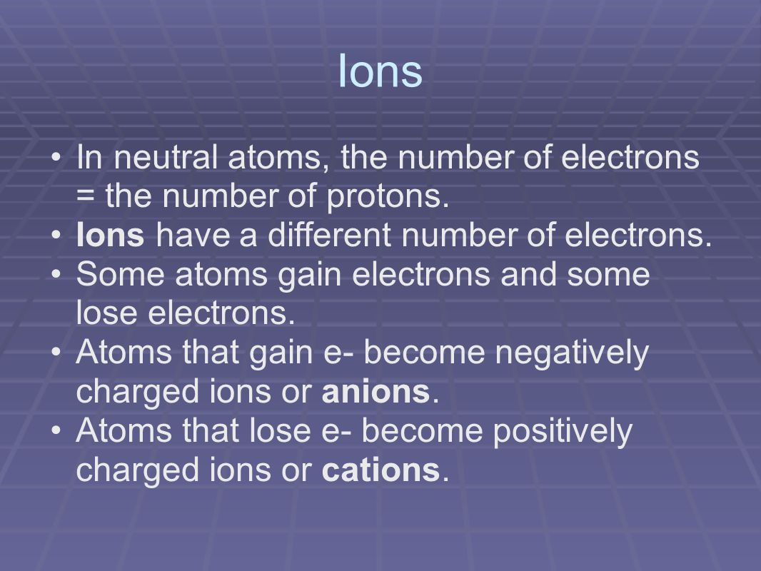 Ions In neutral atoms, the number of electrons = the number of protons.