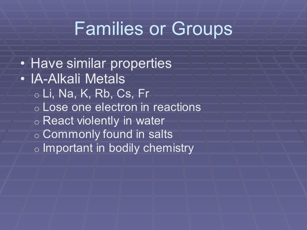 Families or Groups Have similar properties IA-Alkali Metals o Li, Na, K, Rb, Cs, Fr o Lose one electron in reactions o React violently in water o Commonly found in salts o Important in bodily chemistry