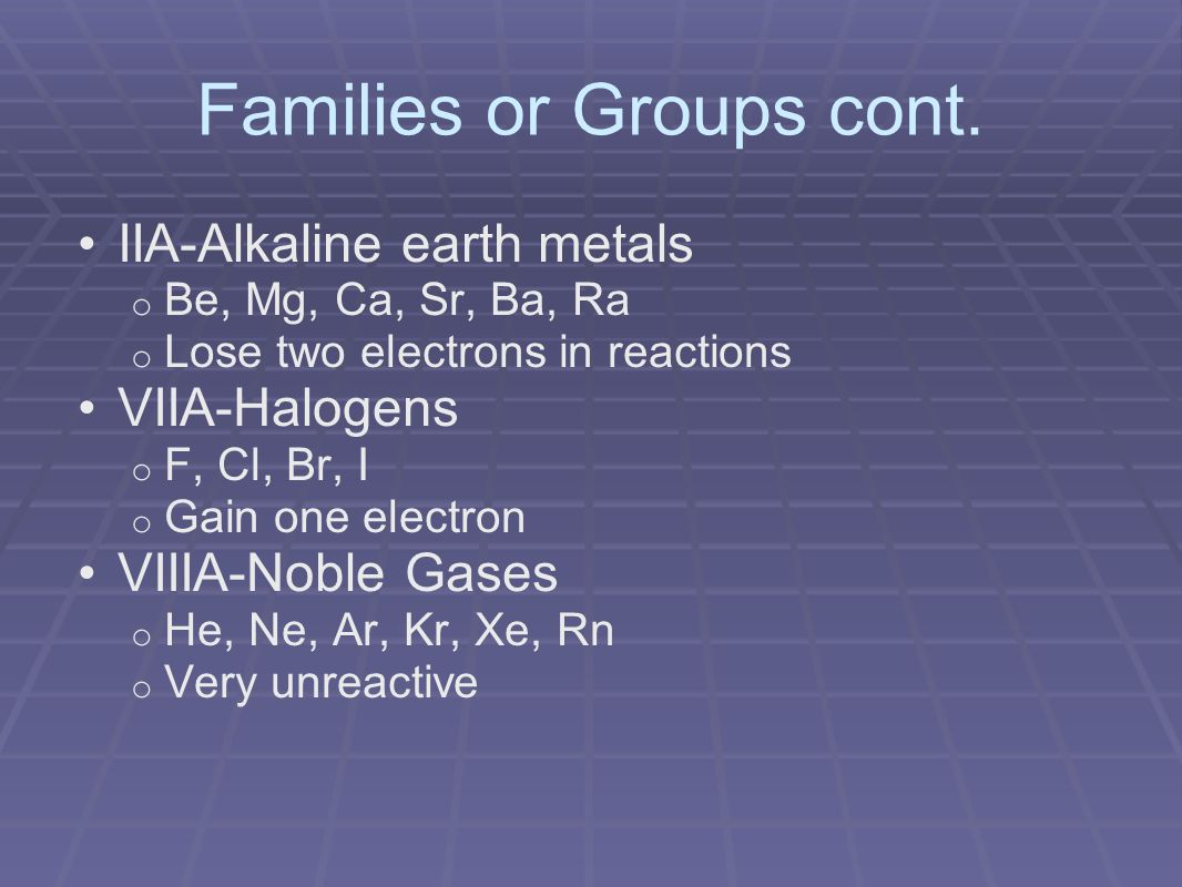 Families or Groups cont.