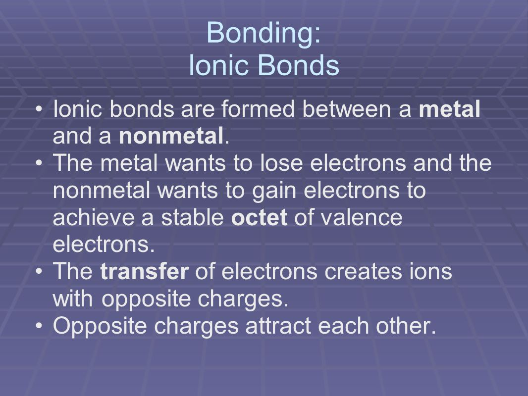 Bonding: Ionic Bonds Ionic bonds are formed between a metal and a nonmetal.