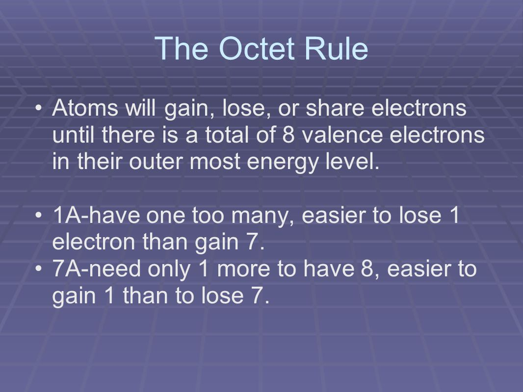 The Octet Rule Atoms will gain, lose, or share electrons until there is a total of 8 valence electrons in their outer most energy level.
