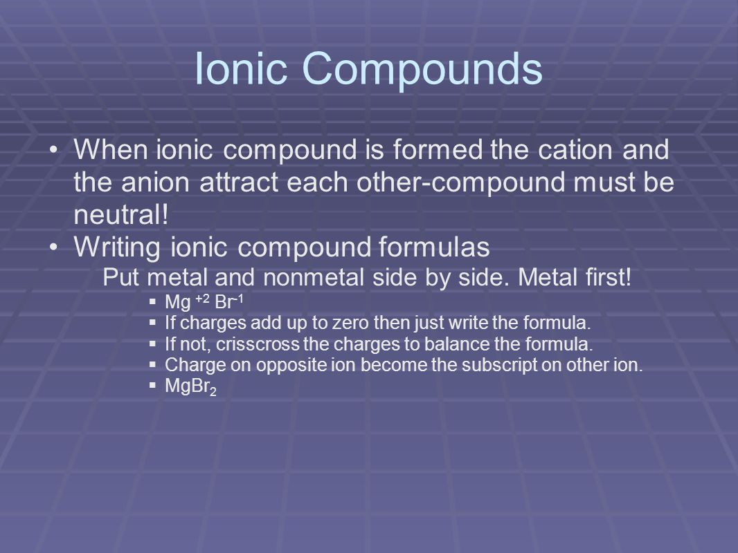 Ionic Compounds When ionic compound is formed the cation and the anion attract each other-compound must be neutral.