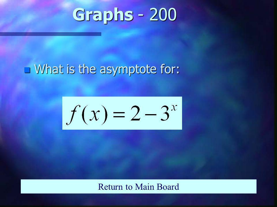 Graphs - 100 n What is the intercept of: Return to Main Board