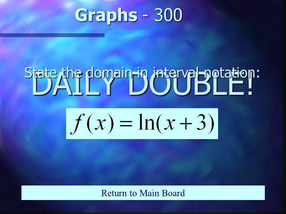 Graphs - 200 Return to Main Board n What is the asymptote for: