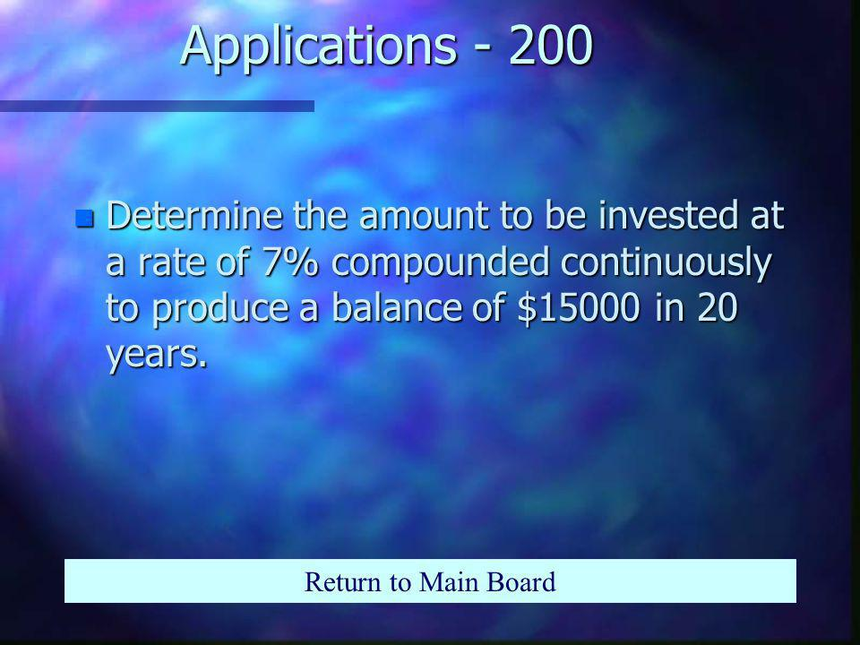 Applications - 100 n Find the account balance for an initial investment of $2000 compounded monthly at a rate of 6.25% for 6 years and 9 months.