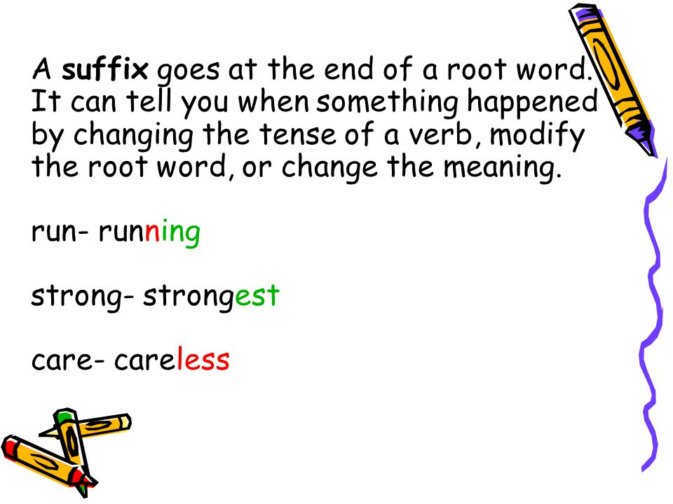Learning prefixes To learn prefixes and suffixes takes practice.