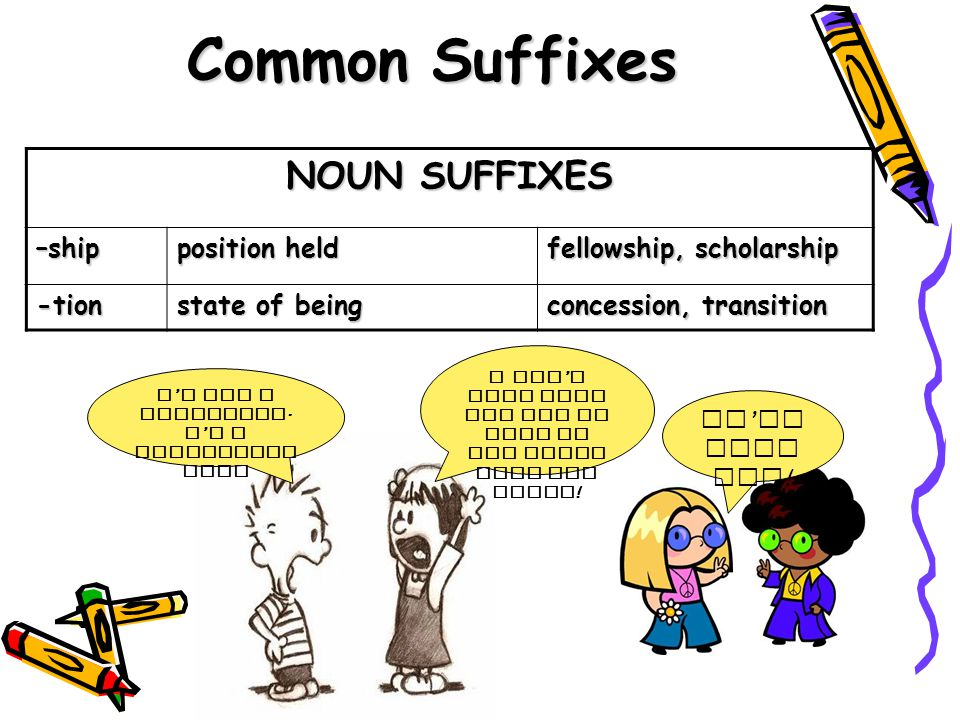 NOUN SUFFIXES –ship position held fellowship, scholarship -tion state of being concession, transition Common Suffixes We ' re danc ers ! I ' M NOT A C