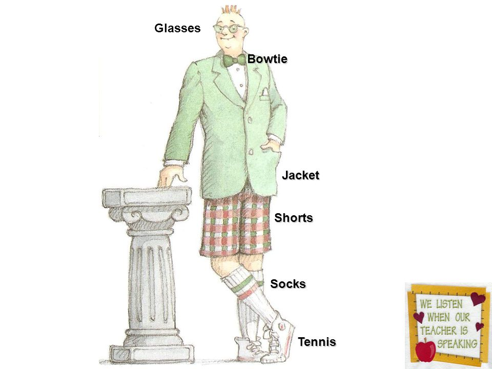 Shorts Tennis Jacket Bowtie Socks Glasses