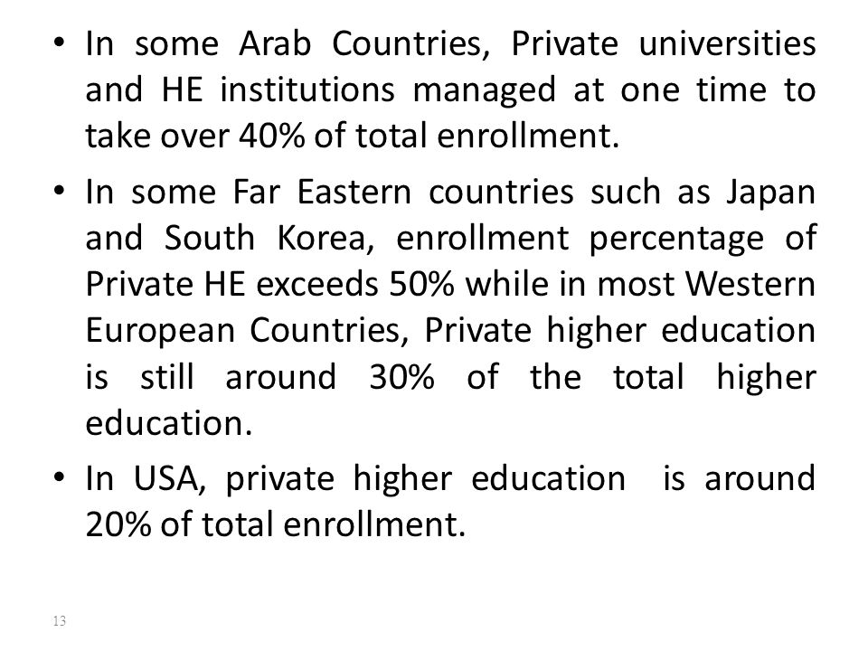In some Arab Countries, Private universities and HE institutions managed at one time to take over 40% of total enrollment. In some Far Eastern countri