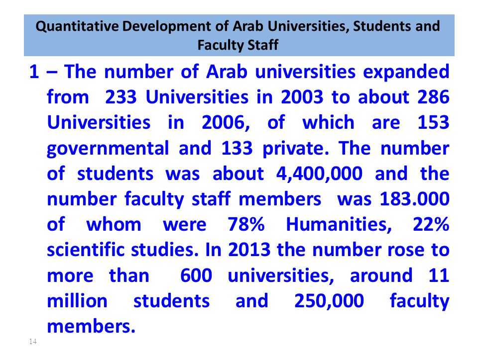 Quantitative Development of Arab Universities, Students and Faculty Staff 1 – The number of Arab universities expanded from 233 Universities in 2003 t