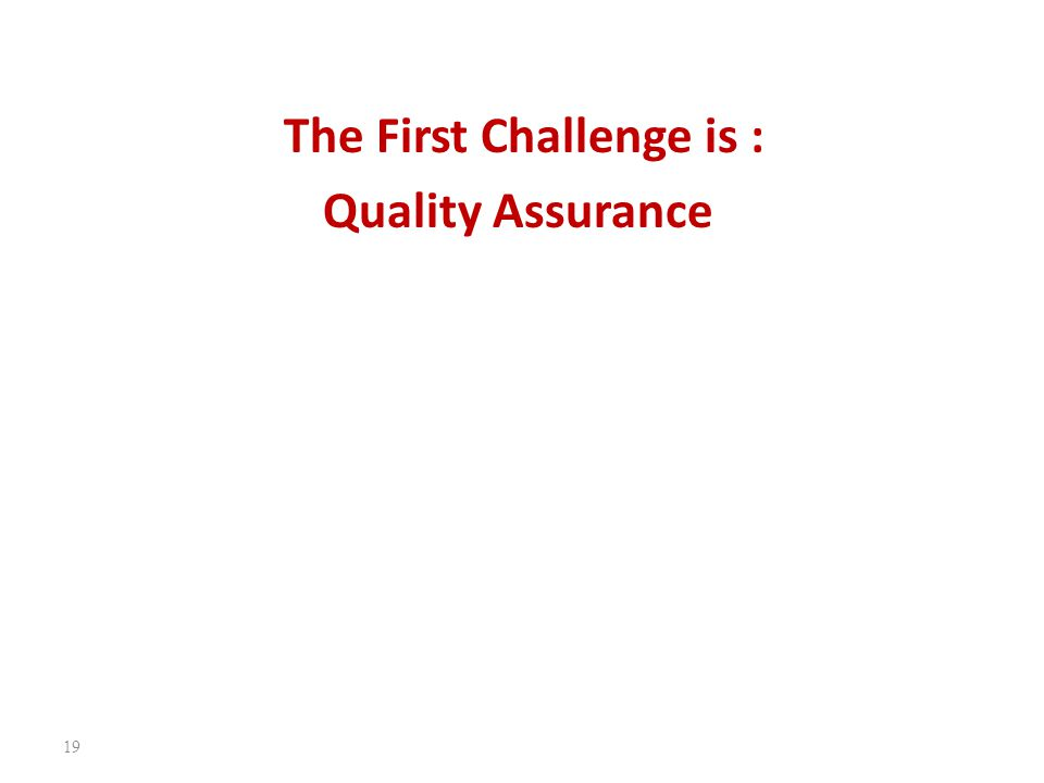 The First Challenge is : Quality Assurance 19