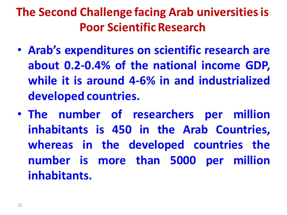 The Second Challenge facing Arab universities is Poor Scientific Research Arab's expenditures on scientific research are about 0.2-0.4% of the nationa