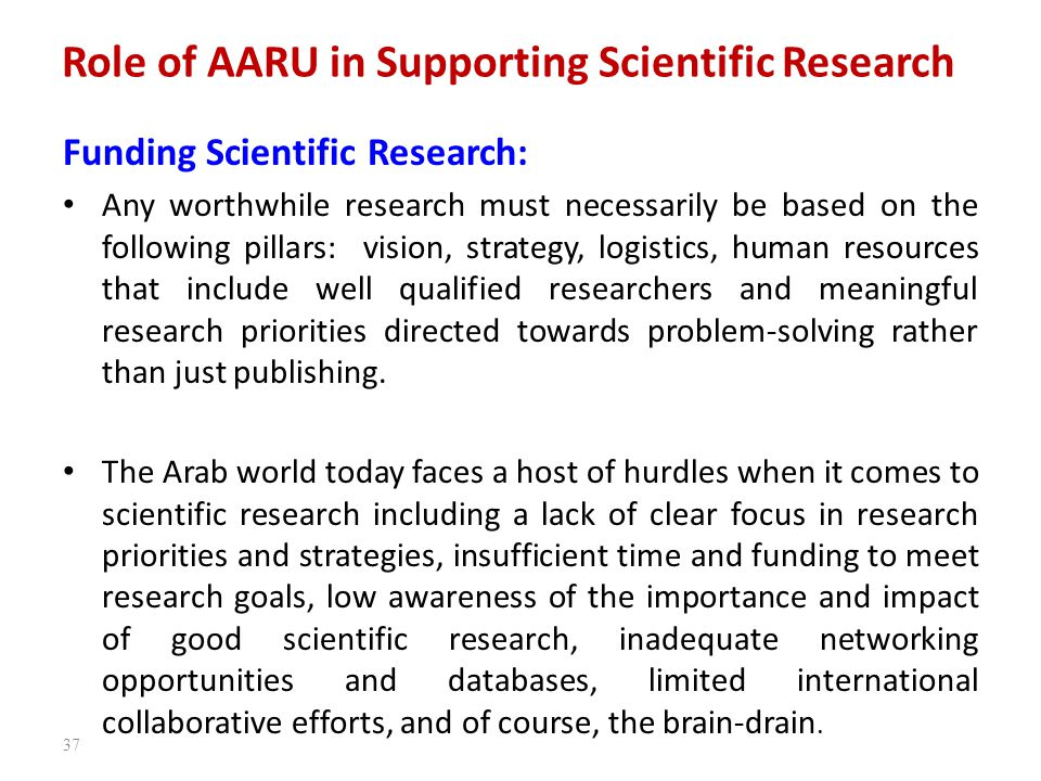 Role of AARU in Supporting Scientific Research Funding Scientific Research: Any worthwhile research must necessarily be based on the following pillars