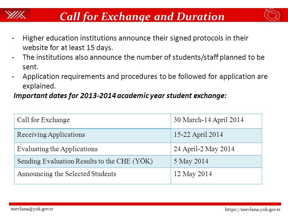 Call for Exchange and Duration https://mevlana.yok.gov.tr mevlana@yok.gov.tr -Higher education institutions announce their signed protocols in their website for at least 15 days.