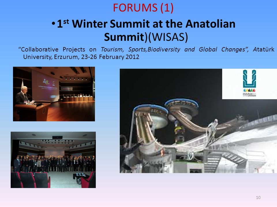 "FORUMS (1) 1 st Winter Summit at the Anatolian Summit)(WISAS) ""Collaborative Projects on Tourism, Sports,Biodiversity and Global Changes"", Atatürk Uni"