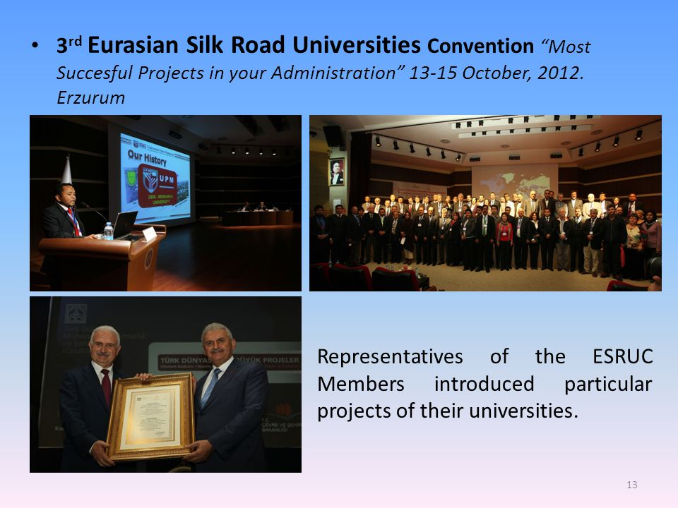 "3 rd Eurasian Silk Road Universities Convention ""Most Succesful Projects in your Administration"" 13-15 October, 2012. Erzurum Representatives of the E"
