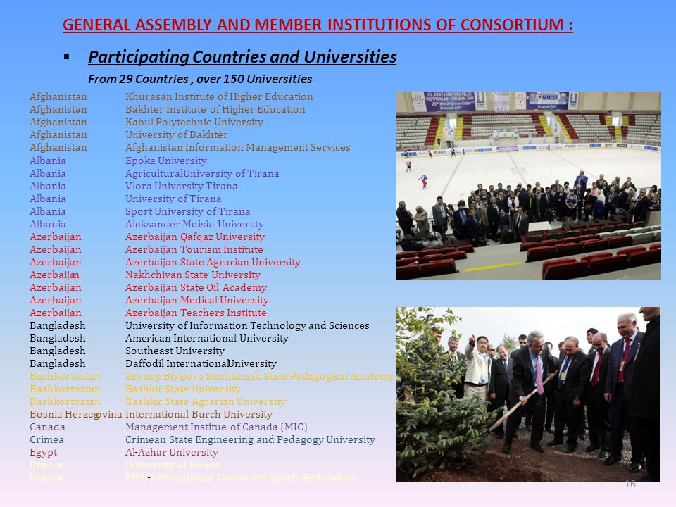 GENERAL ASSEMBLY AND MEMBER INSTITUTIONS OF CONSORTIUM :  Participating Countries and Universities From 29 Countries, over 150 Universities Afghanist