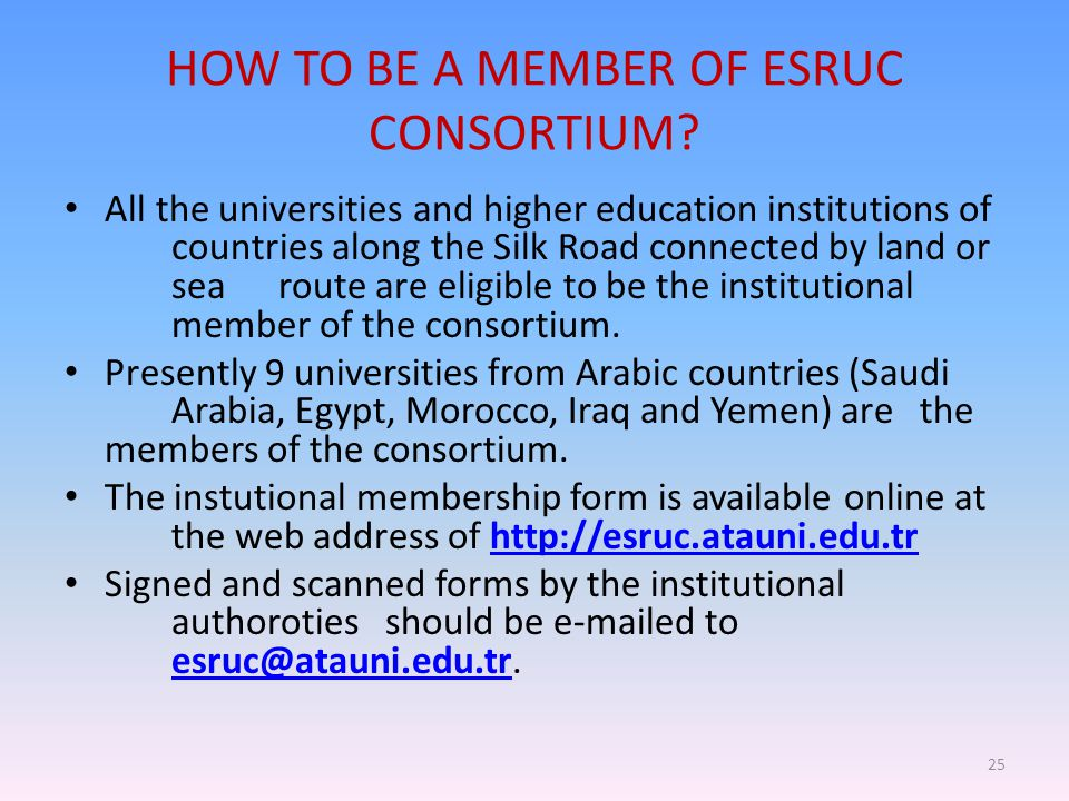 HOW TO BE A MEMBER OF ESRUC CONSORTIUM? All the universities and higher education institutions of countries along the Silk Road connected by land or s
