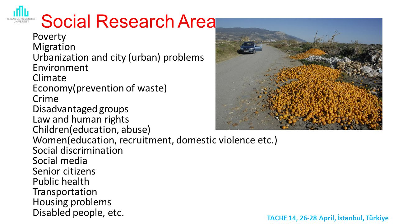 Social Research Areas Poverty Migration Urbanization and city (urban) problems Environment Climate Economy(prevention of waste) Crime Disadvantaged groups Law and human rights Children(education, abuse) Women(education, recruitment, domestic violence etc.) Social discrimination Social media Senior citizens Public health Transportation Housing problems Disabled people, etc.
