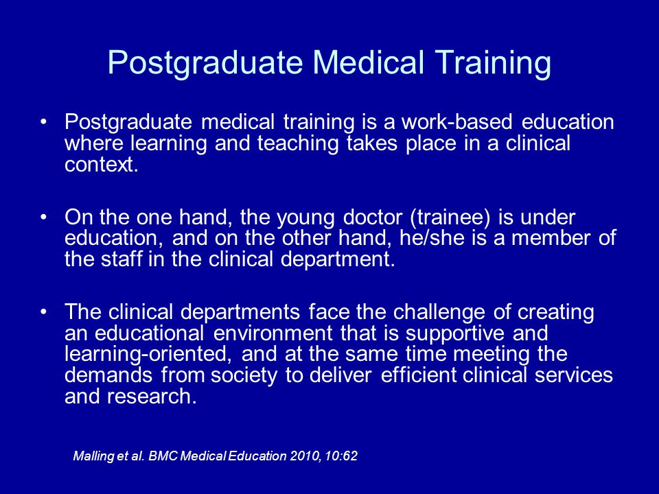 A common feature in medical training is the need for supervision and feedback among trainees and for being engaged in the responsibility for patients.