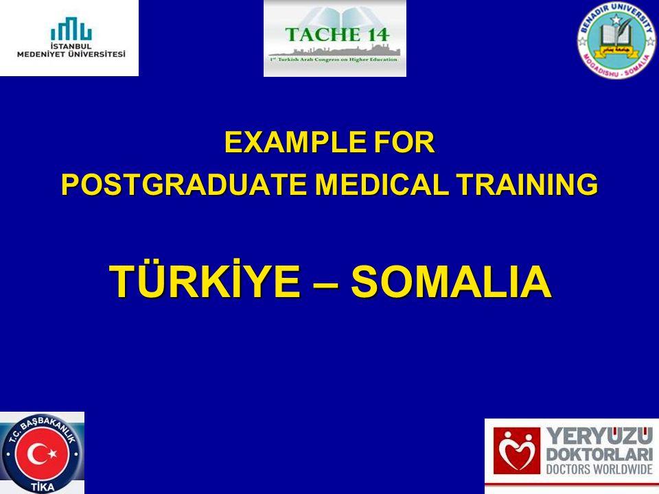 EXAMPLE FOR POSTGRADUATE MEDICAL TRAINING TÜRKİYE – SOMALIA