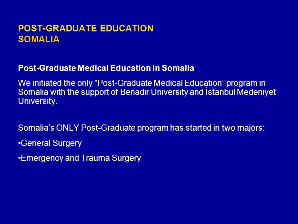 "POST-GRADUATE EDUCATION SOMALIA Post-Graduate Medical Education in Somalia We initiated the only ""Post-Graduate Medical Education"" program in Somalia"