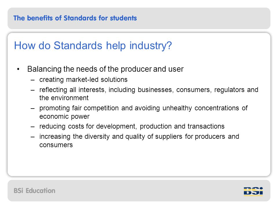 How do Standards help society.