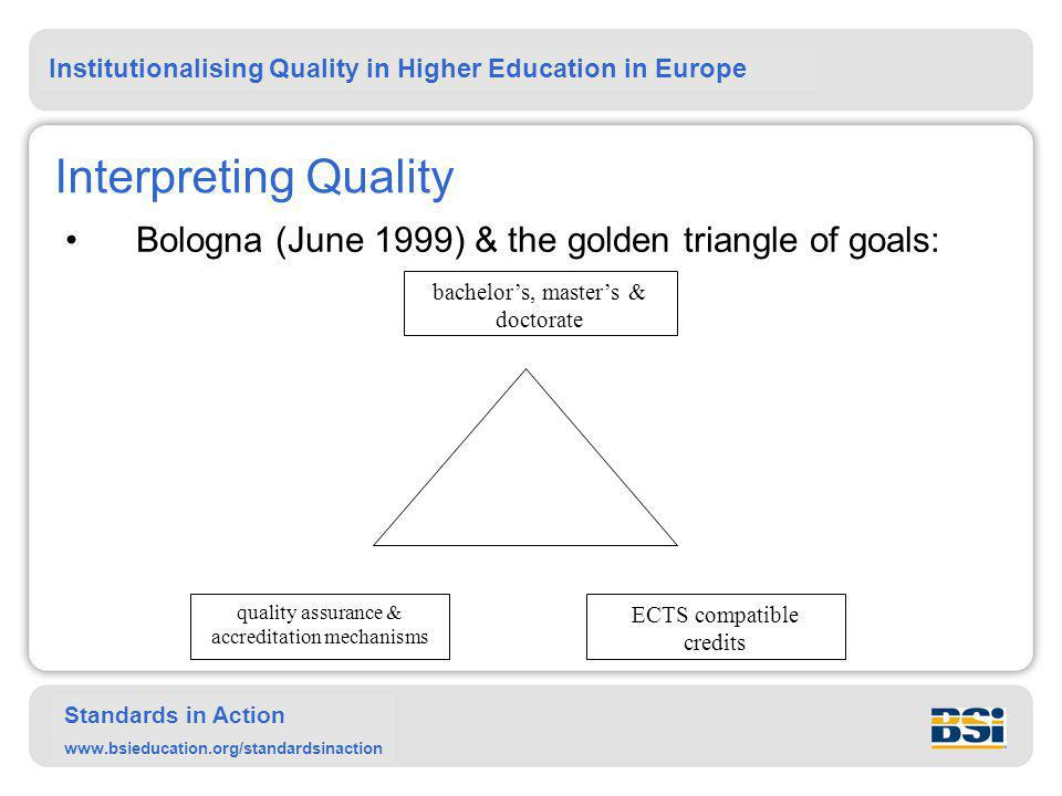 Institutionalising Quality in Higher Education in Europe Standards in Action www.bsieducation.org/standardsinaction Interpreting Quality Bologna (June 1999) & the golden triangle of goals: bachelor's, master's & doctorate quality assurance & accreditation mechanisms ECTS compatible credits