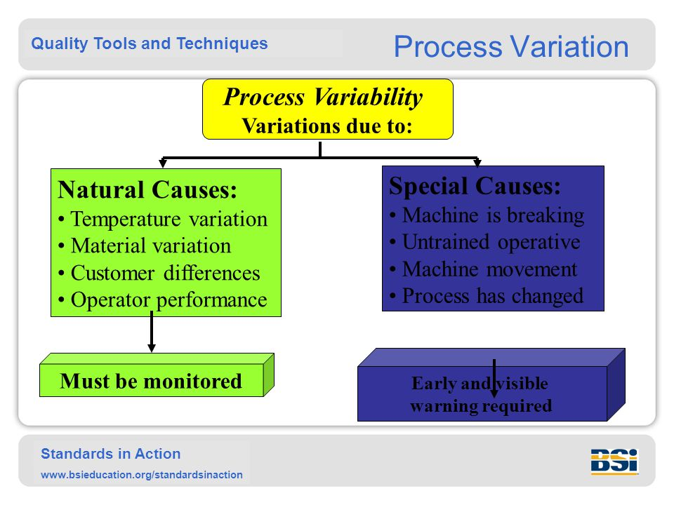 Quality Tools and Techniques Standards in Action www.bsieducation.org/standardsinaction Process Variation Process Variability Variations due to: Natur