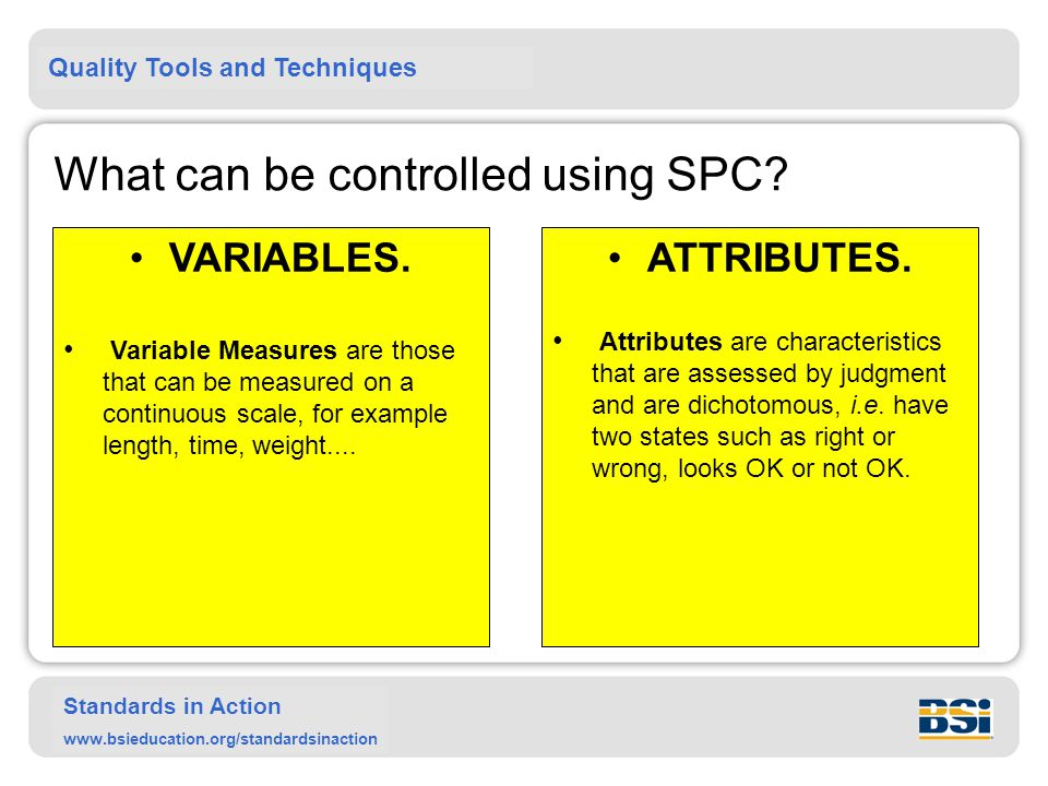 Quality Tools and Techniques Standards in Action www.bsieducation.org/standardsinaction What can be controlled using SPC? VARIABLES. Variable Measures