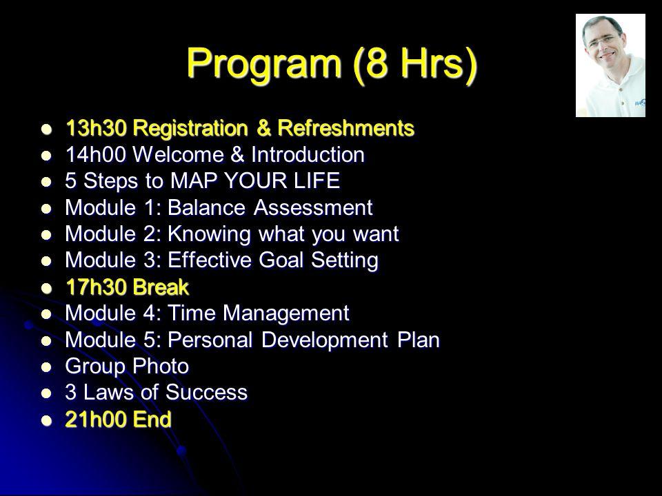 Program (8 Hrs) 13h30 Registration & Refreshments 13h30 Registration & Refreshments 14h00 Welcome & Introduction 14h00 Welcome & Introduction 5 Steps to MAP YOUR LIFE 5 Steps to MAP YOUR LIFE Module 1: Balance Assessment Module 1: Balance Assessment Module 2: Knowing what you want Module 2: Knowing what you want Module 3: Effective Goal Setting Module 3: Effective Goal Setting 17h30 Break 17h30 Break Module 4: Time Management Module 4: Time Management Module 5: Personal Development Plan Module 5: Personal Development Plan Group Photo Group Photo 3 Laws of Success 3 Laws of Success 21h00 End 21h00 End