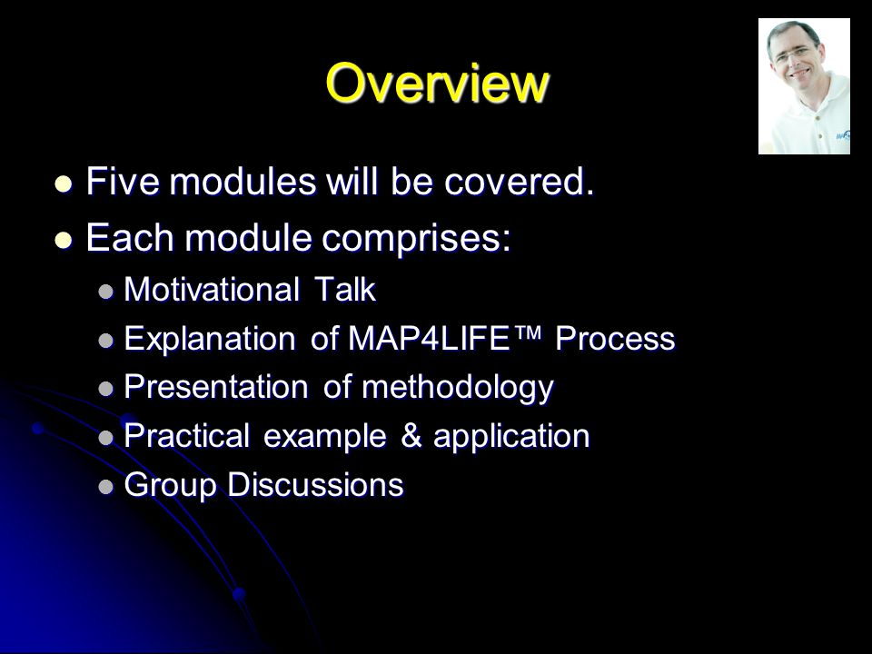 Overview Five modules will be covered.Five modules will be covered.