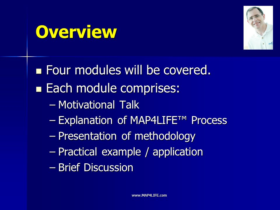www.MAP4LIFE.com Overview Four modules will be covered. Four modules will be covered. Each module comprises: Each module comprises: –Motivational Talk