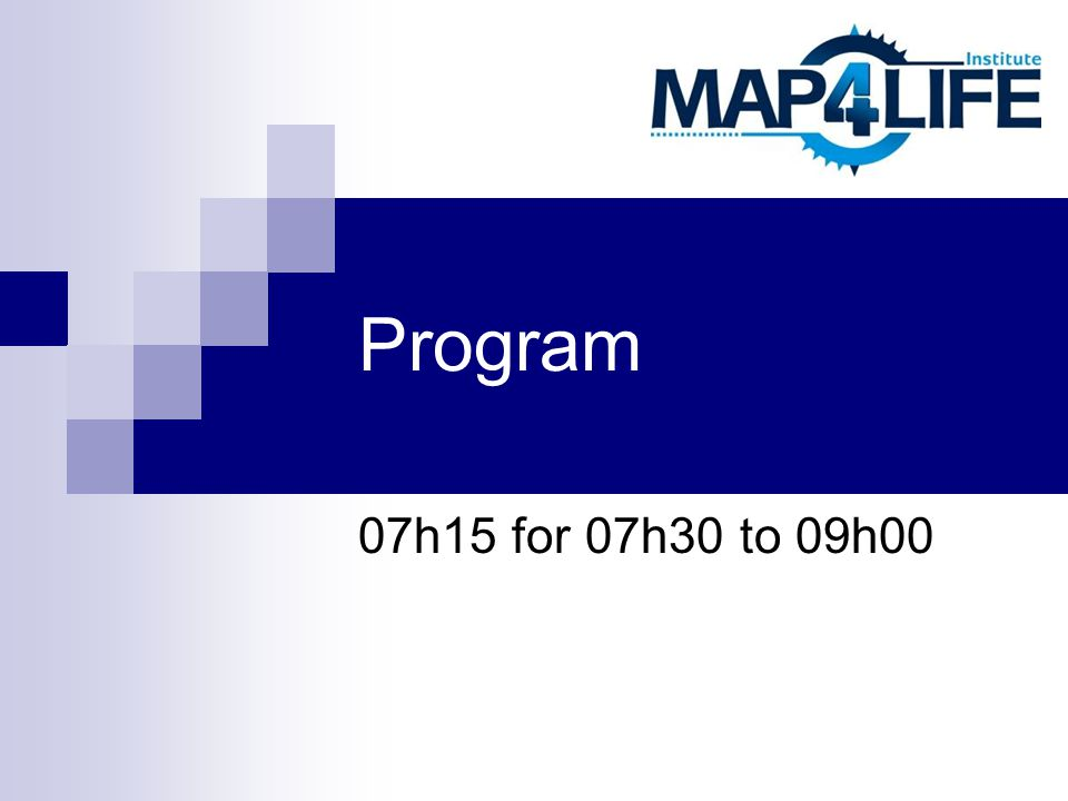 Program 07h15 for 07h30 to 09h00