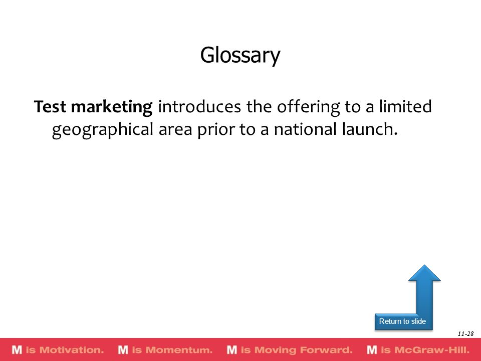Return to slide Test marketing introduces the offering to a limited geographical area prior to a national launch. Glossary 11-28