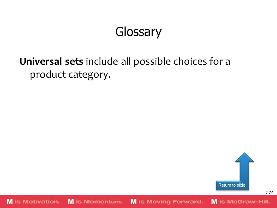 Return to slide Universal sets include all possible choices for a product category. Glossary 5-34