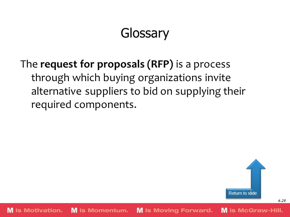 Return to slide The request for proposals (RFP) is a process through which buying organizations invite alternative suppliers to bid on supplying their