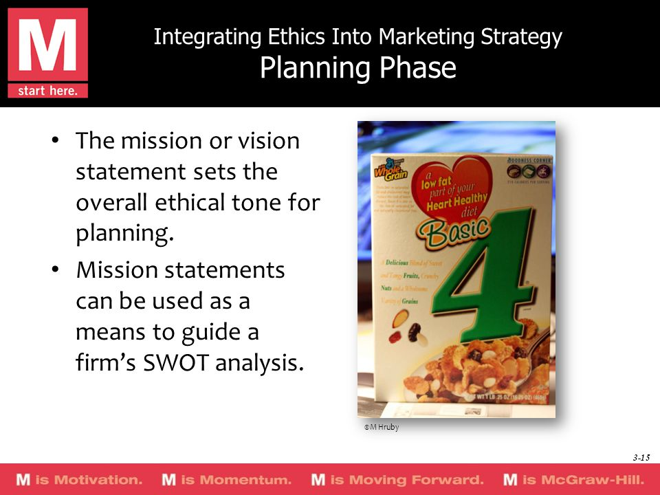 Integrating Ethics Into Marketing Strategy Planning Phase The mission or vision statement sets the overall ethical tone for planning.