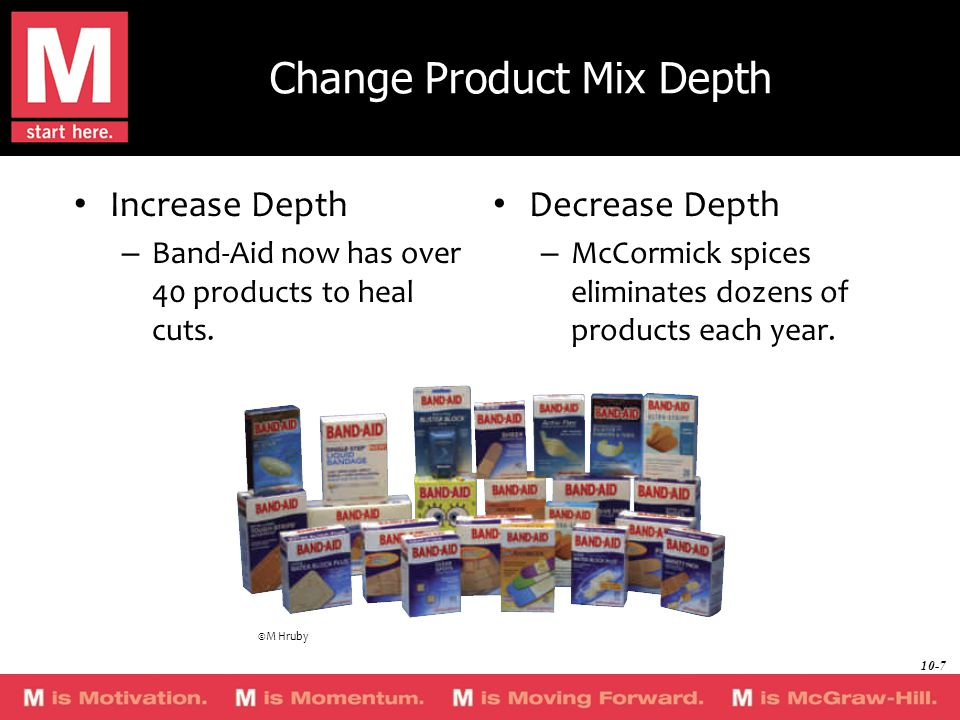Change Product Mix Depth Increase Depth – Band-Aid now has over 40 products to heal cuts.
