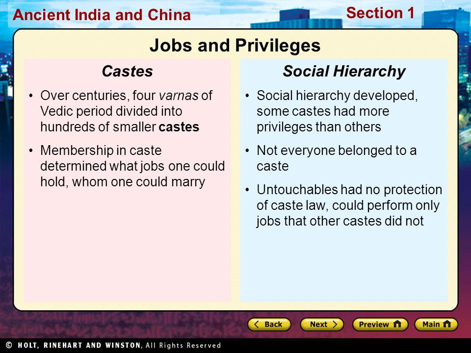 Ancient India and China Section 1 Social hierarchy developed, some castes had more privileges than others Not everyone belonged to a caste Untouchable