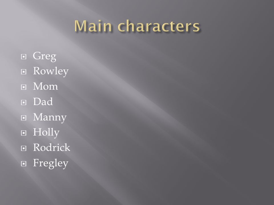  Greg  Rowley  Mom  Dad  Manny  Holly  Rodrick  Fregley