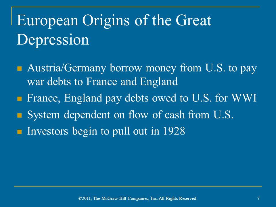 European Origins of the Great Depression Austria/Germany borrow money from U.S.