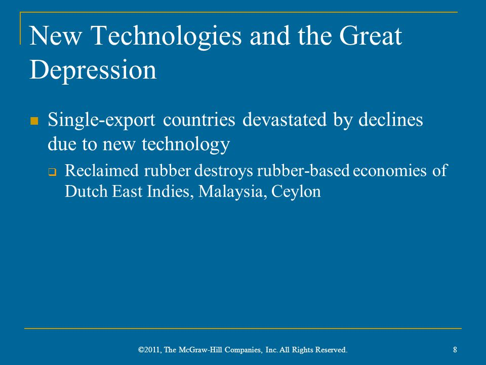 New Technologies and the Great Depression Single-export countries devastated by declines due to new technology  Reclaimed rubber destroys rubber-based economies of Dutch East Indies, Malaysia, Ceylon ©2011, The McGraw-Hill Companies, Inc.