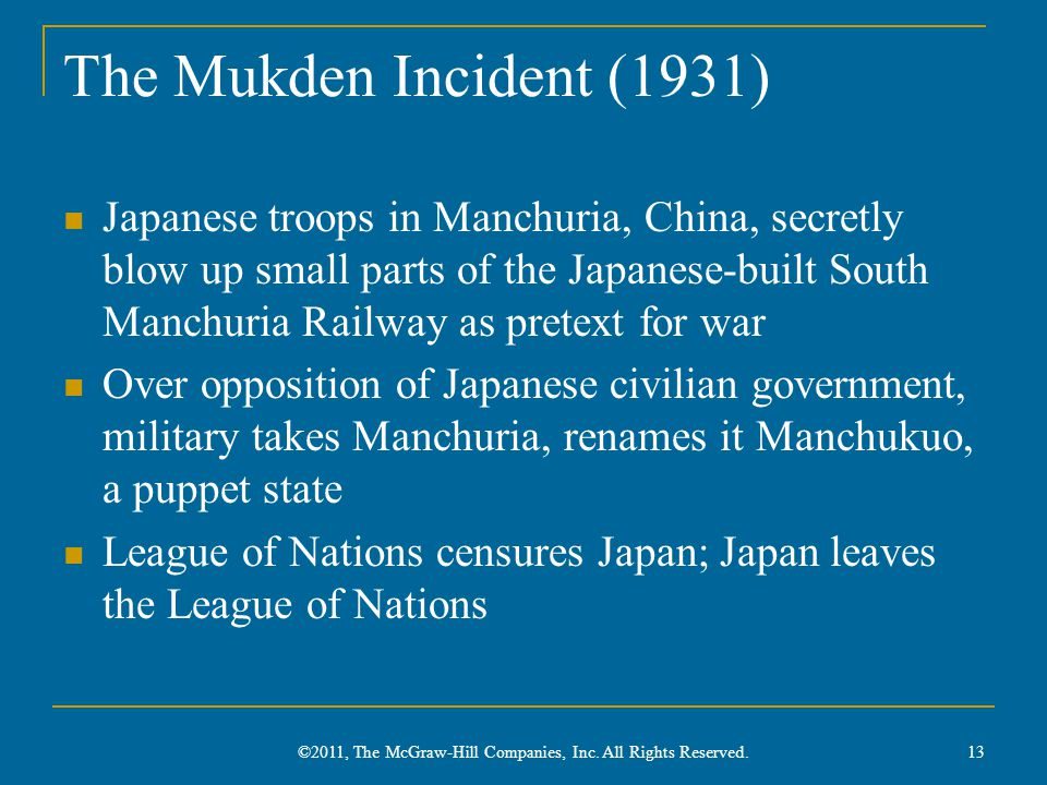 The Mukden Incident (1931) Japanese troops in Manchuria, China, secretly blow up small parts of the Japanese-built South Manchuria Railway as pretext