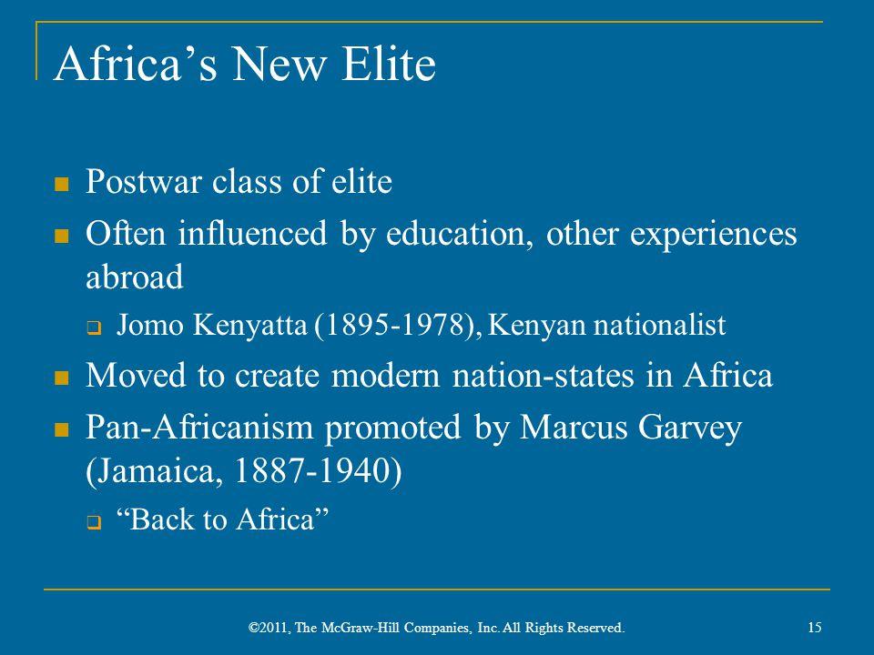 Africa's New Elite Postwar class of elite Often influenced by education, other experiences abroad  Jomo Kenyatta (1895-1978), Kenyan nationalist Move