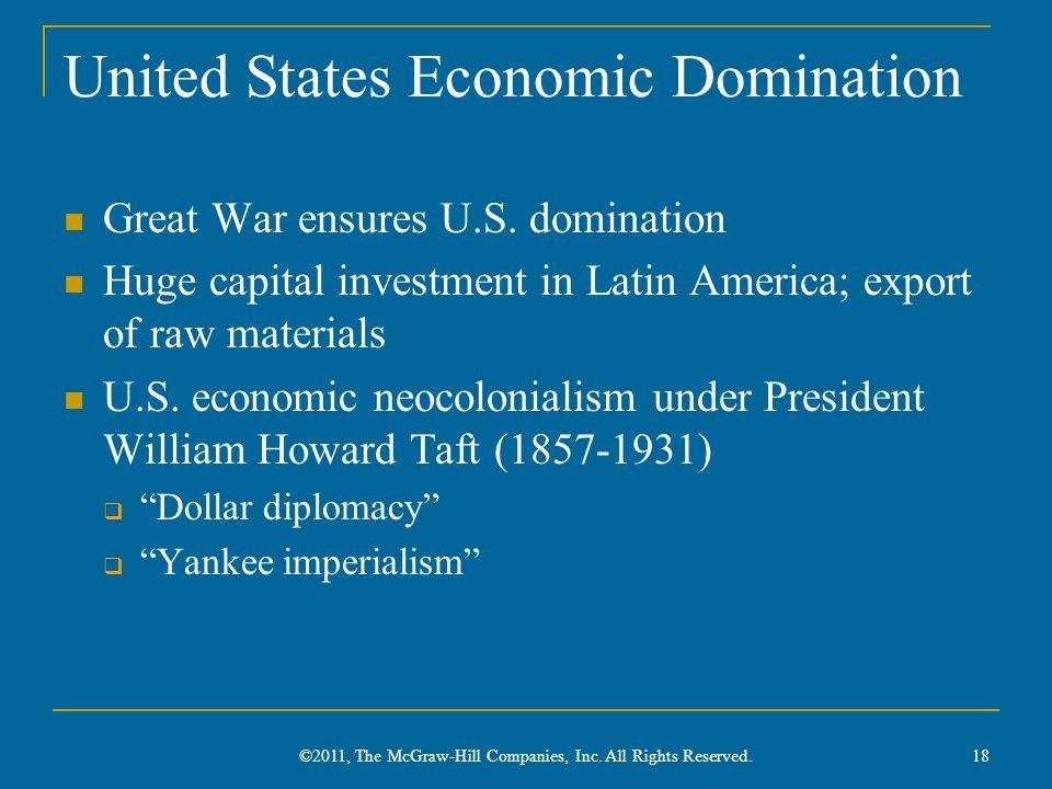 United States Economic Domination Great War ensures U.S. domination Huge capital investment in Latin America; export of raw materials U.S. economic ne