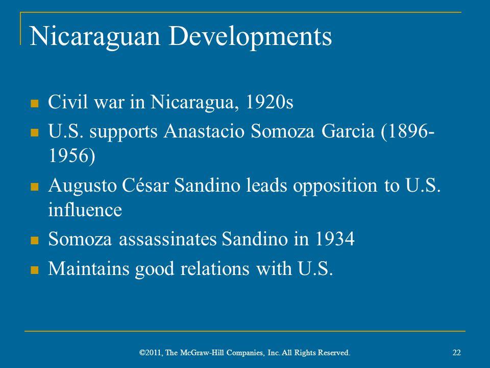 Nicaraguan Developments Civil war in Nicaragua, 1920s U.S. supports Anastacio Somoza Garcia (1896- 1956) Augusto César Sandino leads opposition to U.S