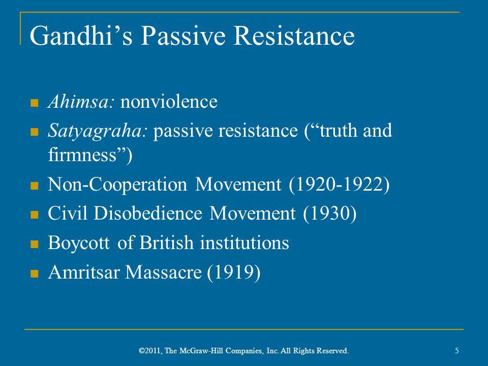 "Gandhi's Passive Resistance Ahimsa: nonviolence Satyagraha: passive resistance (""truth and firmness"") Non-Cooperation Movement (1920-1922) Civil Disob"