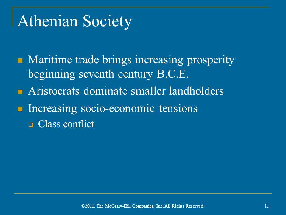 Athenian Society Maritime trade brings increasing prosperity beginning seventh century B.C.E. Aristocrats dominate smaller landholders Increasing soci